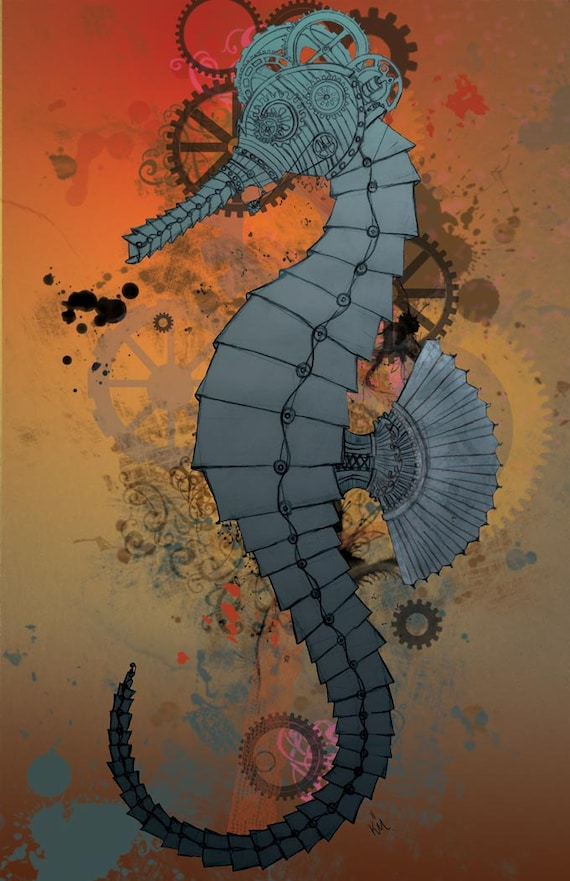 Steampunk Seahorse Large Art Print Wall Decor 11x17 Poster