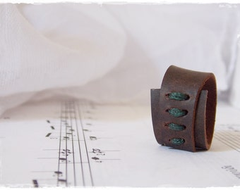Celtic Leather Ring, Brown Leather Ring, Corset Leather Band, Nordic Wicca Ring, Leather Wrap Ring, Norse Leather Band, Nymph  Elven Ring