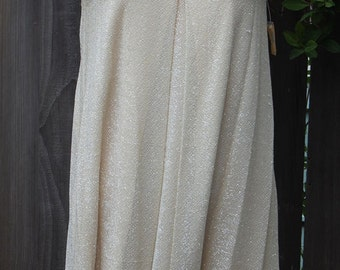 Amazing 60's Cocktail Dress, woven Ivory color w/silver metalic thread, fully lined, Tag still attached