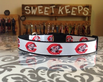 Dog Collar Made from Cincinnati Reds Inspired Ribbon