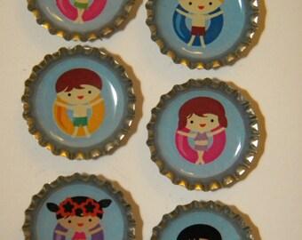 Swimming Kids Bottlecap Magnet 6-Pack No. 4