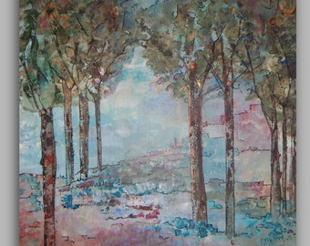 Original Landscape Art Turquoise Teal Trees-Canvas Painting- 12x12x1 by Sheri Wilson - Sherischart