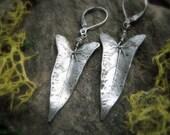 Vine Leaf Earrings - Real Leaf Earrings - Woodland Leaf Earrings - Silvan Leaves - Botanical Jewelry - Artisan Crafted Fine Silver