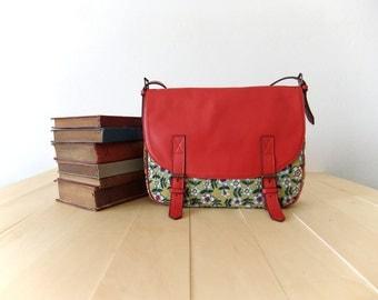 SALE  Leather & Canvas Messenger Bag red leather green floral fabric shoulder bag handbag classic