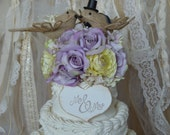 Burlap Birds-Love Birds-country-bride-groom-woodland-animal-ivory-veil-Wedding Cake Topper-Burlap Birds Wedding Cake Topper-rustic wedding