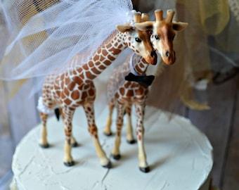 Giraffe-woodlands-wedding cake topper-giraffe-wedding-just married-bride and groom-cake topper-custom-jungle-zoo-safari