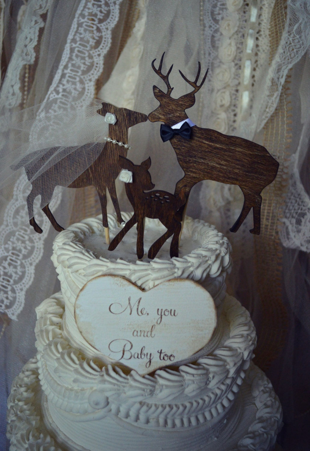 Buck Doe And Fawn Wedding Cake Topper Family
