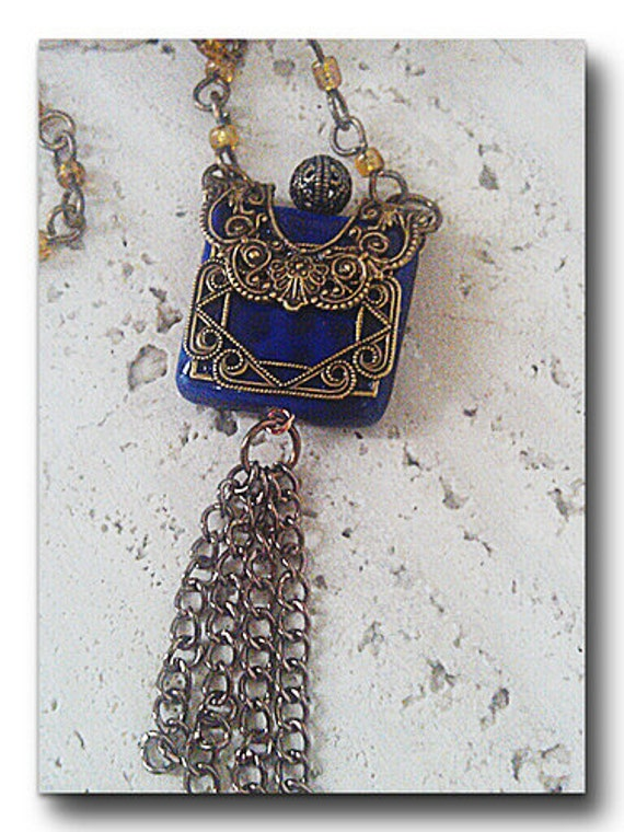 Blue Bead Filigree Necklace