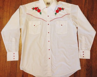 Vintage Ely Cattleman Embroidered Western Shirt- Size Large / X-Large