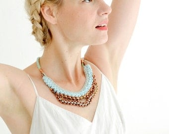 Light Blue Statement Necklace, Crochet Necklace, Rope and Jersey Necklace with Oxidized Copper Chain, Fabric Bib
