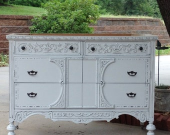 On sale antique vanity shabby white painted by redbarnestates - Antique bathroom vanities for sale ...