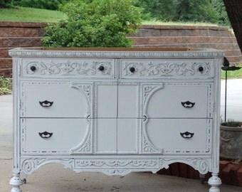 BATHROOM VANITY Custom Converted For You From Antique Dresser Painted Dresser Shabby Chic Dresser