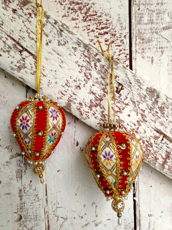 Vintage Handmade Christmas Tree Ornament Sequins ribbons