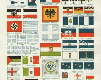 National Flags 4010 vintage lithograph print bookplate to decor frame red green yellow blue white