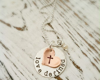 Cross Necklace . Faith Necklace . Cross Necklace . Stamped Jewelry . Love Defined . Silver Necklace . Religious