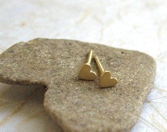Gold tiny heart studs , Gold heart post earrings , Handmade by Adi Yesod