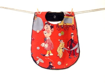 One of a kind Baby Bib, Circus, Out of Print, Clown, Larger baby bib, Toddler bib, Backed with black minky, ultra soft, snap closure