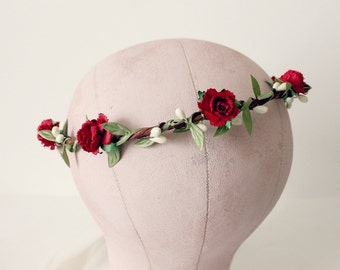 Red Peonies Floral Crown, Wedding, holiday, red wedding, cranberry red, fall, Flower Girl,  Bridal, Hair Accessories, bridesmaids