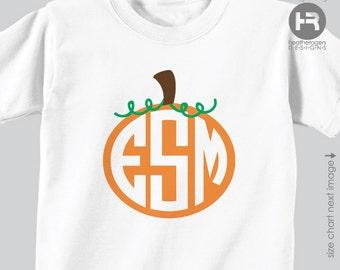 Circle Monogram Pumpkin Shirt or Bodysuit - Pumpkin Patch Shirt