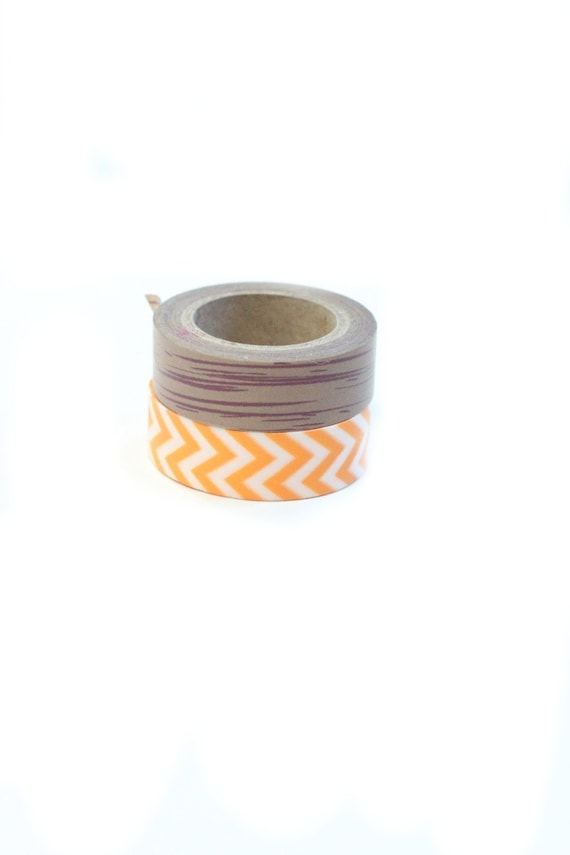 washi tape orange chevron and wood grain two rolls set. Black Bedroom Furniture Sets. Home Design Ideas