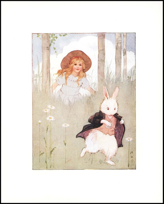 Alice In Wonderland Home Decor Down The Rabbit Hole Vintage Art Print