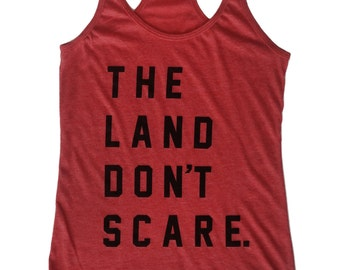 Racerback SUPER SOFT Vintage Feel Tank - The Land Don't Scare on Heather Red