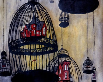 Birdcage illustration - Hush little baby, don't say a word - 11x14 art print