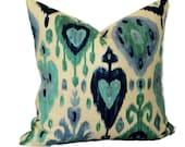 Richloom Ikat Decorative Pillow 18x18 20x20 22x22 or 14x20 Lumbar Pillow Accent Pillow Throw Pillow Toss Pillow Turquoise Navy Blue & Cream