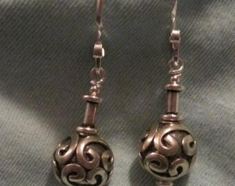 Bali silver bead earrings with scrolling