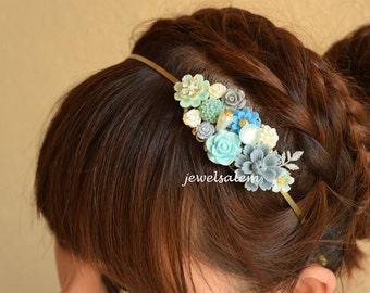 Blue Wedding Headband Turquoise Tiara Floral Head Piece Customized Flower Hairband Woodland Rustic Romantic Bohemian Fascinator H1 WR