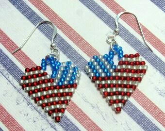 Heart Flag Earrings, Patriotic Earrings, Red White & Blue Earrings, Holiday Earrings, July 4th Earrings, Fourth of July Earrings, Flags