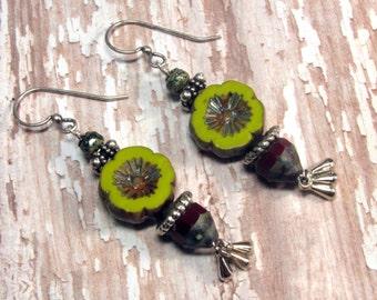 Olive Green Earrings, Red Earrings, Flower Earrings, Fall Earrings, Autumn Earrings, Boho Earrings, Czech Glass Earrings, Dangle Earrings