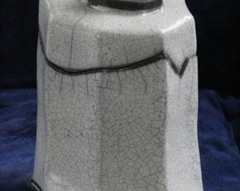 Quirky Cat Raku Jar from Clay Creature Comforts