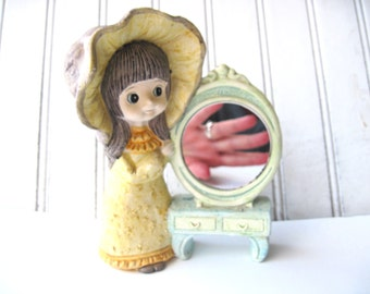 Vintage big eyed girl vanity mirror dressing table decor
