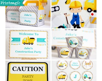 Construction Truck Birthday Party Invitations & Decorations - Printable Party Kit - Editable Text you personalize at home - Instant Download