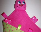 Bunny Baby Blanket  Handmade Personalized Ribbon Taggie