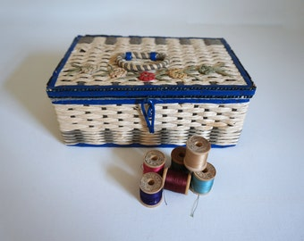Mid Century Braided Sewing Basket Blue with Flowers - Made in Japan
