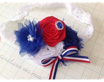 Land of the Free - July 4th Inspired Headband. Newborn Headband. Baby Headband, Red Blue White Rosette Headband. Photography Prop.