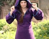 Festival Elf Dress in Purple- Medieval Womens Tunic with Pixie Pointy Hood - Game of Thrones Costum - Link hoodie - PSY hoodie  elven dress