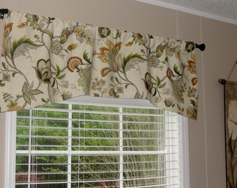 "P Kauffman Brissac Amber Arch Shaped Valance 52"" wide x 19"" long Lined with Cotton Muslin Dusty Brown Burnt Orange Green Cream Taupe"
