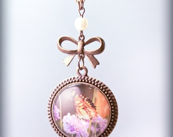 Butterfly with purple flowers Necklace Photo Pendant On Chain Original Handmade SALE ready to ship