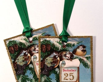 SALE! Glittered Christmas Tags ~ Hand Glittered Christmas Bird Christmas Tags, Old-Fashioned, Vintage Style, with Ribbon