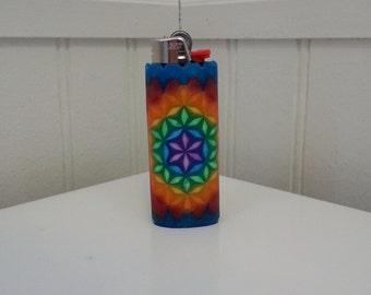 Flower of Life Perler Bead LIGHTER CASE - sacred geometry - rasta - rainbow - 710 - 420