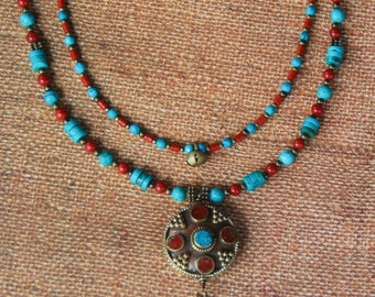 CLEARANCE - Longer Two Strand Ethnic Design with Turquoise, Coral and Tibetan Brass Pendant