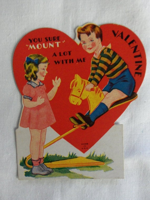 Vintage 1940's Childrens  Valentine Made in USA Boy Girl Hobby Horse You Sure MOUNT A Lot!