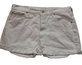 White Denim Vintage Levi Shorts - Distressed - Frayed-  - Medium 34 W