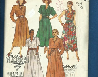Vintage 1986 McCalls 2895 Tailored Bodice Dress on a Gathered Skirt with Shoulder Pads or Sleeveless UNCUT Sizes 8-10-12