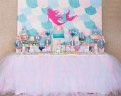 "MERMAID Backdrop Banner Artwork - 60""w x 40""h - YOU PRINT - Mermaid Birthday Party"