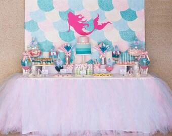 "MERMAID Backdrop Banner Artwork - 60""w x 40""h - YOU PRINT - Mermaid Birthday Party"