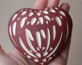 Ceramic red heart. Valentines Day. Wedding table decor.